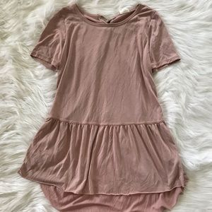 Mote Blush Pink Short Sleeve Flowy Blouse